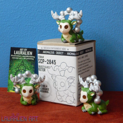 A small, handpainted figurine of SCP-2845: the Deer God