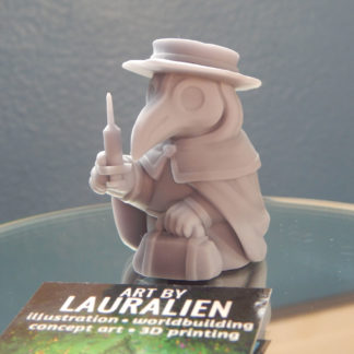 A small, unpainted plague doctor figurine. It holds a leather bag and syringe.