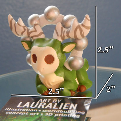 """A small, handpainted figurine of SCP-2845: the Deer God. Its measurements are 2.5"""" tall, 2.5"""" wide, and 2"""" deep."""