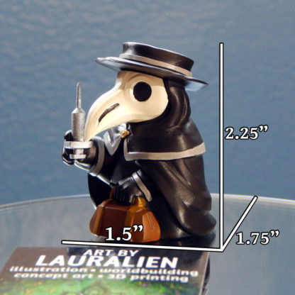 """A small, handpainted plague doctor figurine. It holds a leather bag and syringe. Its measurements are 2.25"""" tall, 1.5"""" wide, and 1.75"""" deep."""